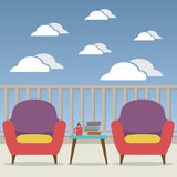 Empty Sofa Interior Set At Balcony Stock Images