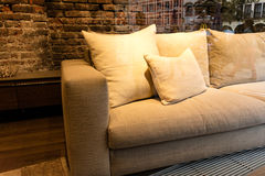 Empty sofa with pillows Stock Images