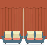 Empty Sofas In Front Of Curtain Royalty Free Stock Images