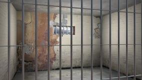 Empty sordid prison cell Stock Photo