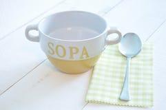 Empty soup yellow bowl Stock Image