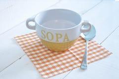 Empty soup yellow bowl Stock Photos