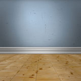 Empty space. Interior design detail. Blue old  wall with  baseboard molding and wooden floor Stock Image