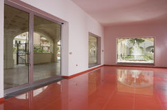 Empty space. With red tiled floor Royalty Free Stock Photo