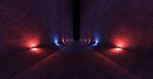 Empty space with concrete walls and lamps on the walls spreading soft diffused red and blue light up and down. 3d rendering. Empty space with concrete walls and Royalty Free Stock Photo