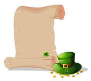 An empty space beside a green hat and tokens Stock Image
