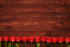 Empty space with line of roses below Stock Photos