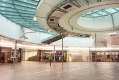 Empty space of the modern shopping mall inside the Gasometers, former gas tanks Royalty Free Stock Image