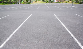 Empty space parking lot outdoor in public park. Stock Photos