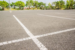 Empty space parking lot outdoor in public park. Stock Images