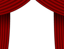 Empty space and theatre curtains. Isolated on white Royalty Free Stock Photography