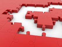 Empty spaces between puzzle pieces in red color.3d illustration. Royalty Free Stock Photography