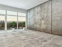 Empty spacious interior room with view window Royalty Free Stock Photo