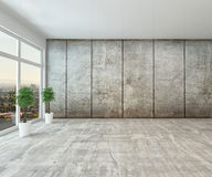 Empty spacious interior room with view window Stock Photo