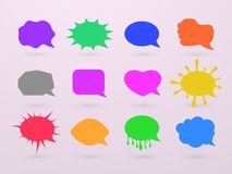 Empty speech bubbles, chat boxes of various forms for adding text and expressing feelings. Vector illustration. stock illustration