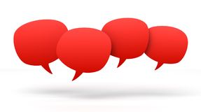 Empty speech bubbles 3d concept illustration. Isolated on white background Stock Photos