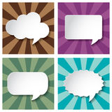 Empty speech bubbles paper on Sun burst retro Patt Stock Image