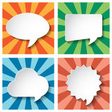 Empty speech bubbles paper on Sun burst retro Patt Royalty Free Stock Photography