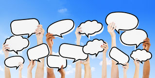 Empty Speech Bubbles Raised Outdoors Royalty Free Stock Photos