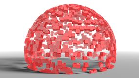 Empty sphere shape from separated red cubes Stock Photo