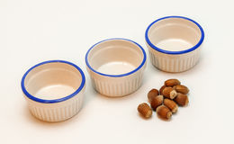 Empty spice white bowls with acorns Stock Images