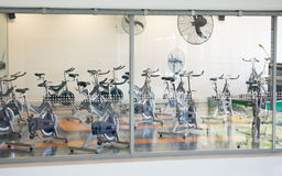 Empty spin studio with fans Royalty Free Stock Photo