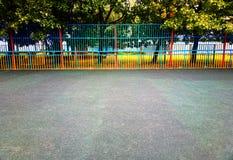 Empty sport children playground background. Horizontal orientation vivid vibrant color bright rich composition design concept element object shape backdrop stock photography