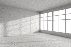 Empty spotted concrete room corner with windows interior Royalty Free Stock Image