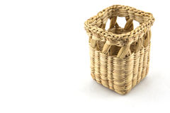 Empty square basket, container, isolated on white background Royalty Free Stock Photos