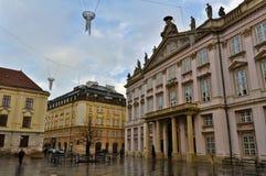 Empty Square in Bratislava, Slovakia Royalty Free Stock Image