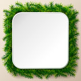 Empty square frame of christmas tree twigs Royalty Free Stock Photo