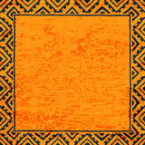 Empty square frame for your text. Black and orange color. Grunge. Texture. Vintage print. Ethnic and tribal motifs. Vector illustration Stock Illustration