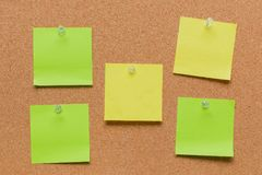 empty square green and yellow pinned sheet Stock Images