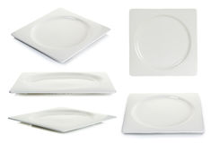 Empty square plate isolated on white background Stock Images