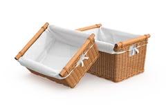 Empty square shape wicker baskets Stock Photography