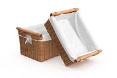 Empty square shape wicker baskets Royalty Free Stock Image