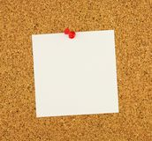 Empty square sheet stick-notes paper of white paper for your text, cork brown board as background. Red button has used. Royalty Free Stock Images