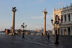 Empty St. Mark`s Square in Venice Italy early in the morning royalty free stock photo