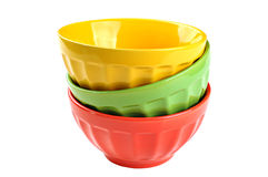 Empty, stacked, colored bowls (red, yellow, green), isolated on. White background Stock Images