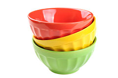 Empty, stacked, colored bowls (red, yellow, green), isolated on. White background Stock Photos