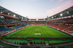 Empty stadium with footboll field after the game Royalty Free Stock Photos