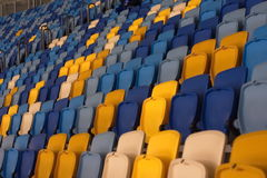 Empty stadium before the match with rows of seats a Stock Image