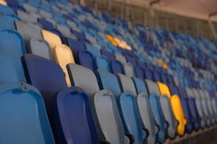 Empty stadium before the match with rows of seats a Stock Photo