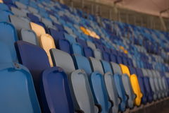 Empty stadium before the match with rows of seats a Royalty Free Stock Image