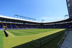 Empty stadium 'Metalist'. Panoramic view. KHARKIV, UKRAINE - JULY 29, 2014: Empty stadium 'Metalist'. Panoramic view from the corner of the stands Royalty Free Stock Photography