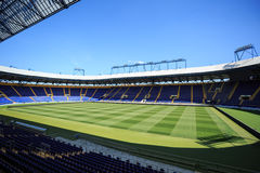 Empty stadium 'Metalist'. Panoramic view. KHARKIV, UKRAINE - JULY 29, 2014: Empty stadium 'Metalist'. Panoramic view from the corner of the stands Royalty Free Stock Photos