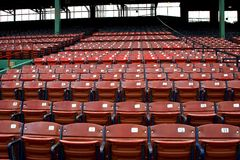 Empty Stadium Seats. Empty grandstand seats with numbers on the seats Stock Images