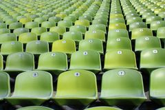 Empty Stadium Seats. Rows of empty seats at the olympic stadium Stock Images