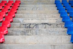 Empty stadium seats in arena. Old and dirty  concept Royalty Free Stock Photography