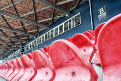 Empty stadium seats in a row. (hdr high detail Royalty Free Stock Image